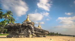 Two Buddhist Pagodas at Ngwe Saung beach. Myanmar Stock Footage