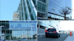 4K montage (compilation) - modern building and people entering into the building Stock Footage
