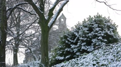 English Church in the snow Stock Footage