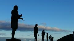 4K UHD Statue Guanche in Candelaria coast Tenerife island Canary islands Spain Stock Footage
