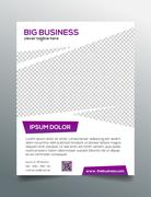 Clean modern business flyer template in purple white design Stock Illustration