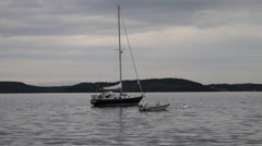 Sailboat at bay Stock Footage