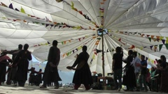 All people dance in a circle,Sumur,Ladakh,India Stock Footage