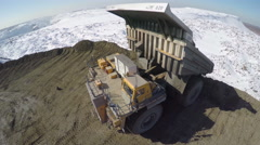 Aerial view huge quarry trucks Stock Footage