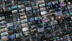 Animated video wall, expanding 4K Stock Footage