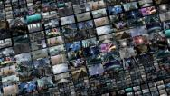 Stock Video Footage of Animated video wall, expanding 4K