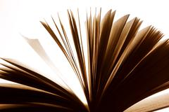 Open old book, pages fluttering. Fantasy, imagination, education Stock Photos