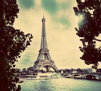 Eiffel Tower and Seine River, Paris, France. Vintage - stock photo