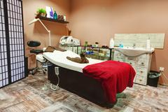 Beauty salon and massage interior. Relaxing, zen design - stock photo