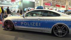4k BMW police car at Motorshow automobile event Arkistovideo