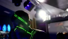 Guy dancing on disco in flashing light lumiere - stock footage