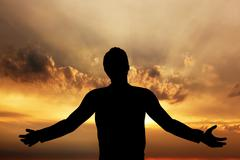 Man praying, meditating in harmony and peace at sunset - stock illustration