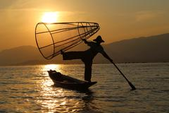 Traditional fisherman, Inle Lake - stock photo