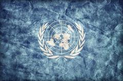 Grunge United Nations flag, parchment paper texture. UN Piirros