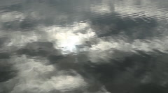 Smooth water. Grey cloud reflections. Stock Footage