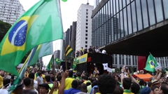 Protesters on Paulista Avenue against the corruption of Brazilian government Stock Footage