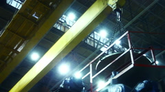 Crane work in the factory shop Stock Footage