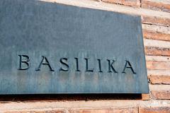 Basilika, Basilica, Cathedral signage in front of Church - stock photo