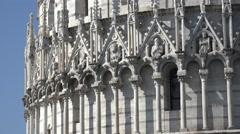 ULTRA HD 4K Beautiful Baptistry monument Pisa Square Miracles landmark tourism  Stock Footage