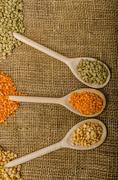 Variations lentils, lentils bio - stock photo