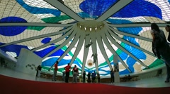 Inside view of the famous Cathedral of Brasilia City, Brazil Stock Footage