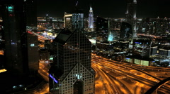 Dubai UAE Sheikh Zayed Road Arabian Gulf illuminated UAE Stock Footage