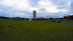 The National Congress of Brazil in Brasilia city capital of brazil Stock Footage