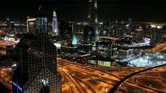 Dubai UAE Sheikh Zayed Road Arabian Gulf illuminated Stock Footage