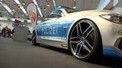 4k BMW police car at Motorshow automobile event Stock Footage