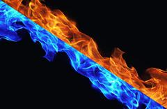 Blue and red fire on black background - stock photo