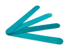 Stock Photo of Six popsicle bluish sticks for arts and crafts on a white background