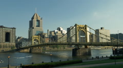 Early Evening Pittsburgh Establishing Shot Stock Footage