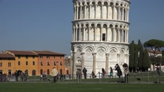 ULTRA HD 4K Leaning Tower Pisa landmark tourist people enjoy take photo european Stock Footage