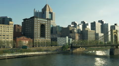Pittsburgh North Shore Early Evening Establishing Shot - stock footage