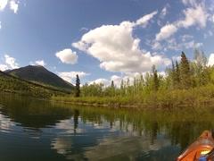 Kayak Fishing on Alaska Lake Stock Footage