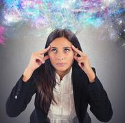 Businesswoman imagination Stock Photos
