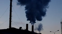 Pollution. Global warming concept smokestack. Chimney Stock Footage