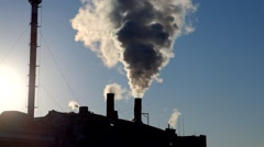 Global warming concept smokestack. Chimney - stock footage