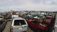Stock Video Footage of Junked Cars In Desert Salvage Yard Zoom- Kingman Arizona