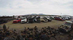 Wide Shot Of Automobile Salvage Junk Yard- Kingman AZ Stock Footage