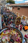 Virgen del Carmen parade peruvian Andes  Pisac Peru Stock Photos