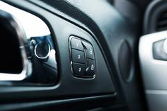 Car Door Lock and Seats Adjustment Memory Closeup Stock Photos
