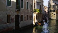Gondoliers Steers Gondola Grand Canal in Venice, Italy 4K Stock Video Footage Stock Footage
