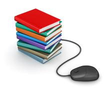 Stack of books with computer mouse Stock Illustration
