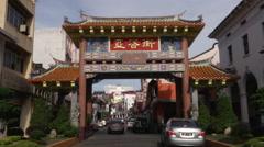 Chinatown Jalan Carpenter, Kuching, Malaysia Stock Footage