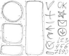 Set of figures, banners, arrows, symbols outline marker Stock Illustration