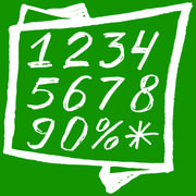 Back to school. White numbers on a green background Sketch numbers are writte Stock Illustration