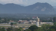 Airport control tower of Kuching, Malaysia Stock Footage