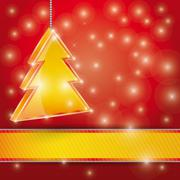 Celebration light  background with ribbon and  Christmas tree. - stock illustration
