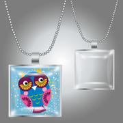 Stock Illustration of Silver pendant with square clear glass cabochon for your picture